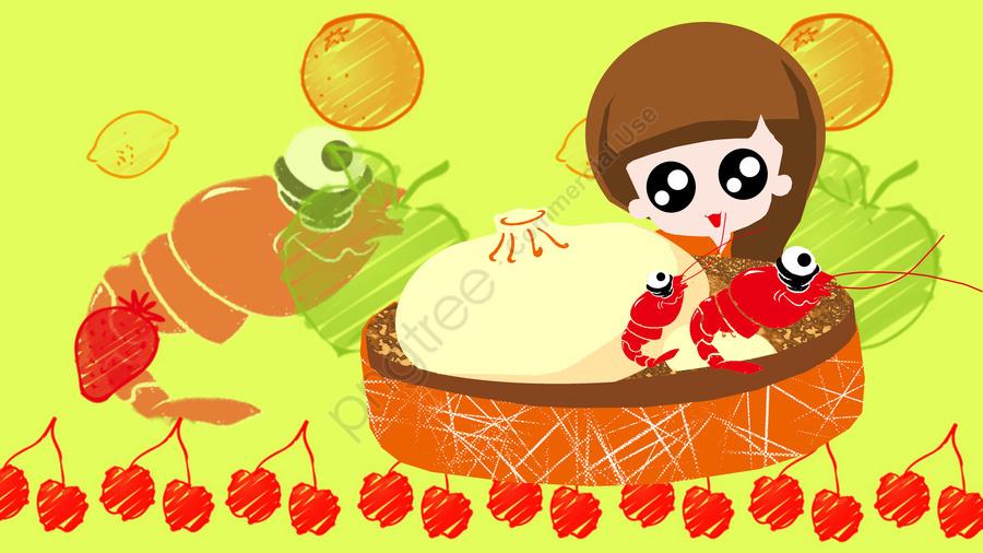 그림 음식 간식 왕새우, 찐빵, 식품, 납작한 llustration image