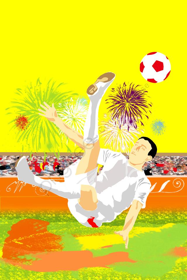 イラストサッカーワールドカップ屋外, 花火, グランド, 観客 llustration image