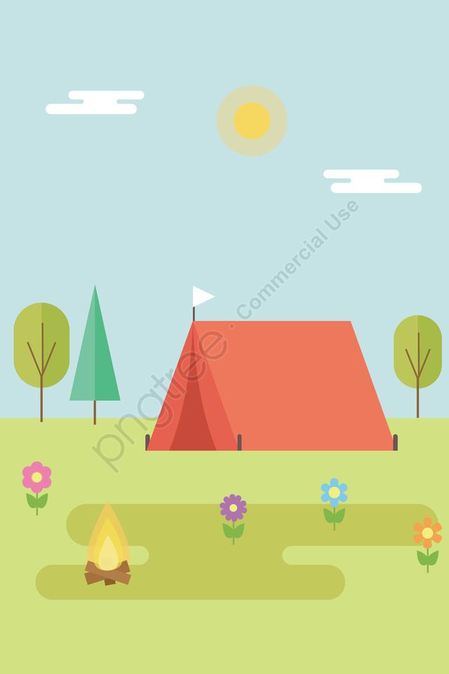 イラスト草原屋外キャンプ風景, キャンピング, ワイルドキャンプ, 旅行 llustration image