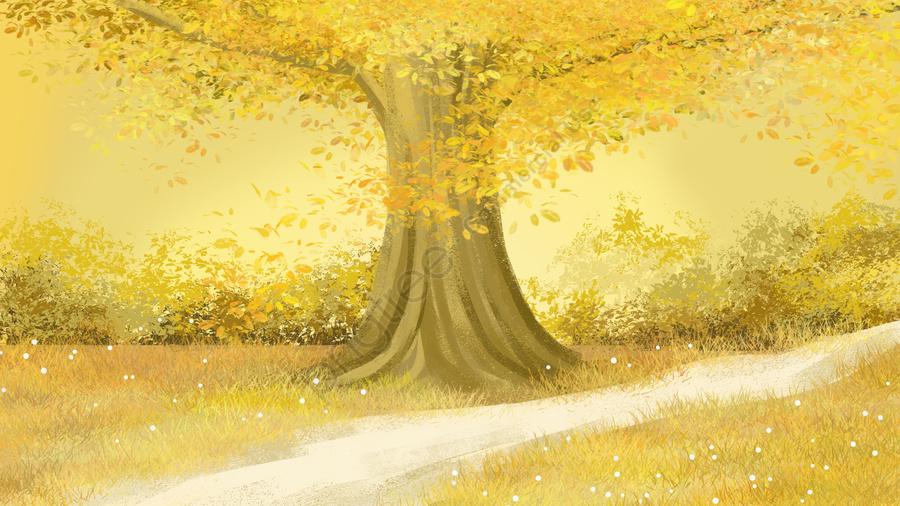 illustration hand painted background material, Autumn Landscape, Golden Autumn, Fall llustration image