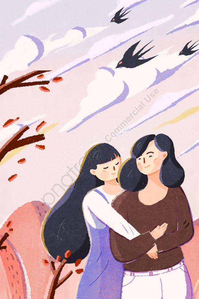 illustration hand painted mothers day mother, Mom, Daughter, Mother And Daughter llustration image