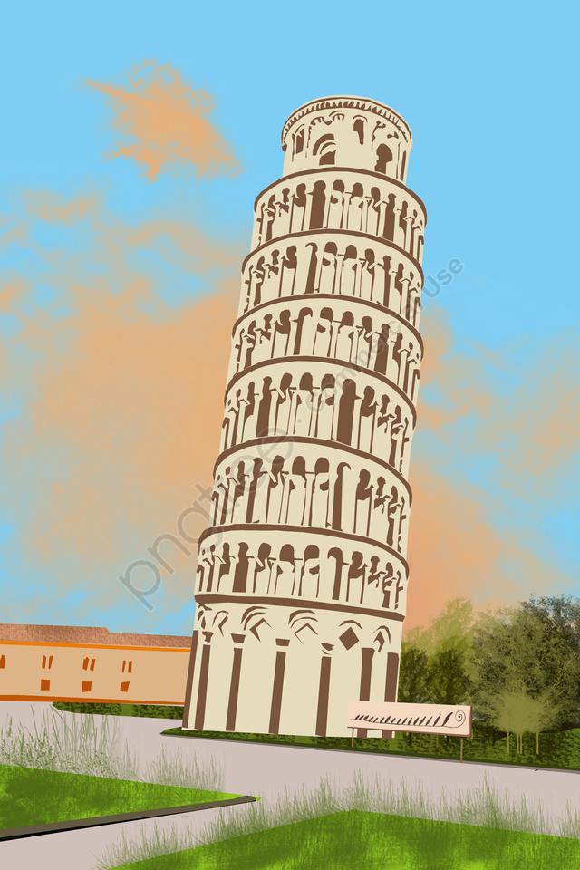 그림 랜드 마크 유명한 명소, 고대, 역사, 피사의 사탑 llustration image