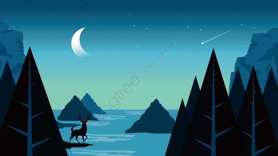그림 밤 필드보기, 야경, 집 밖의, 야생 풍경 llustration image