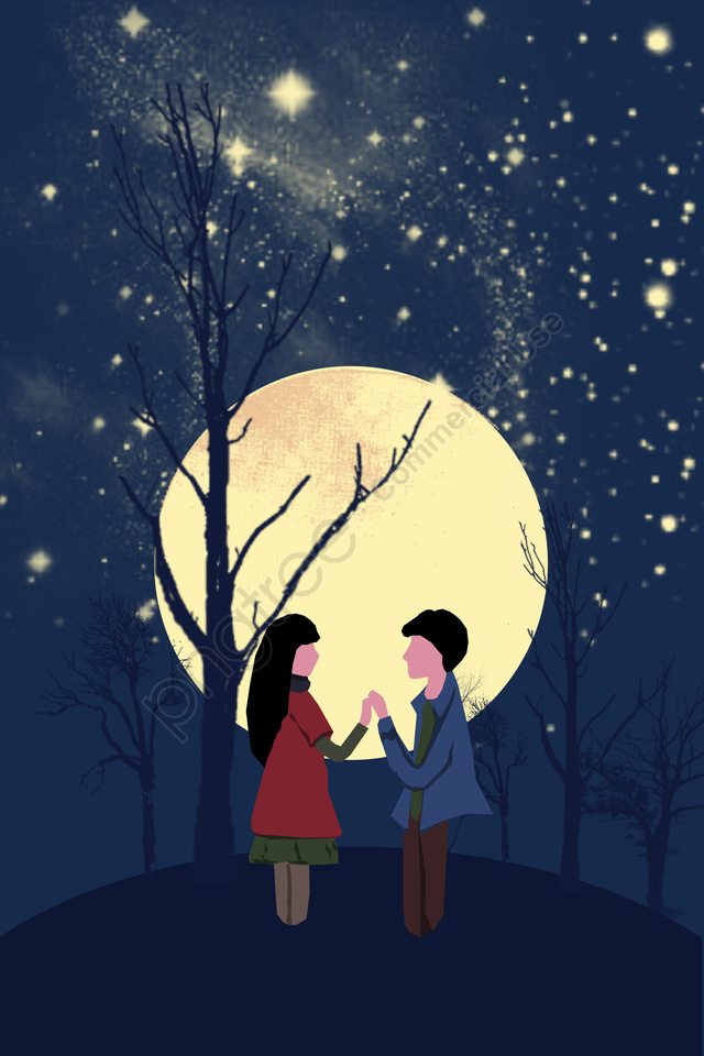 illustration night starry sky beautiful, Couple, Outdoor, Moon llustration image