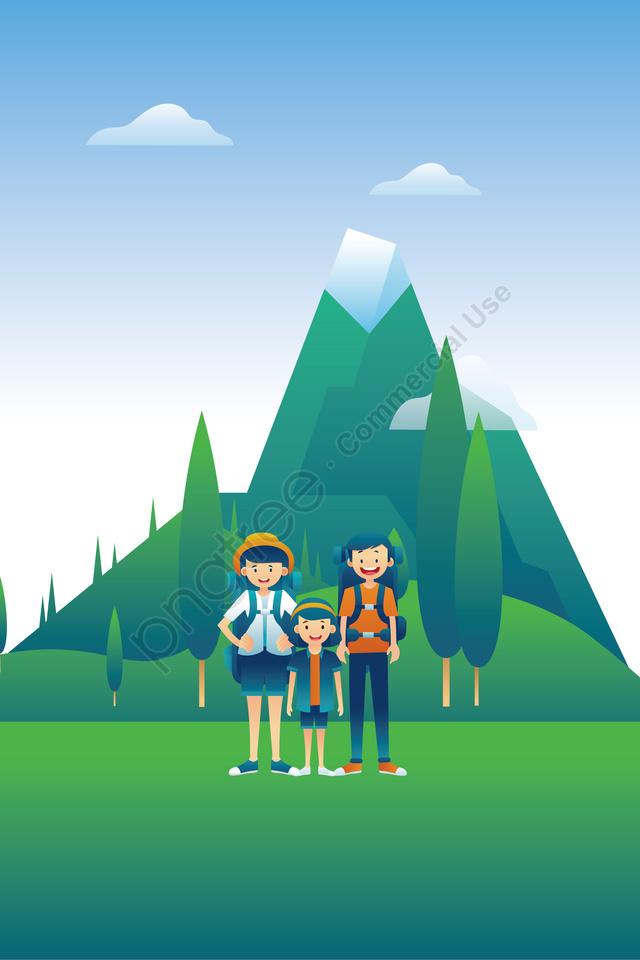 徒歩で屋外の図, 屋外ハイキング, 歩いて旅行, 夏の旅行 llustration image