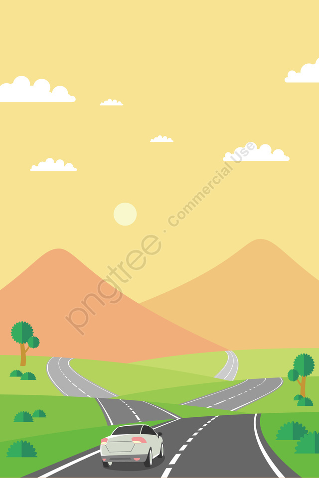 イラスト屋外の自動運転ツアーの風景, 旅行, 車, ハイウェイ llustration image