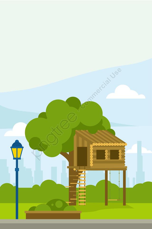 イラスト公園風景木の家, 公園の風景, サマーパーク, 夏景色 llustration image