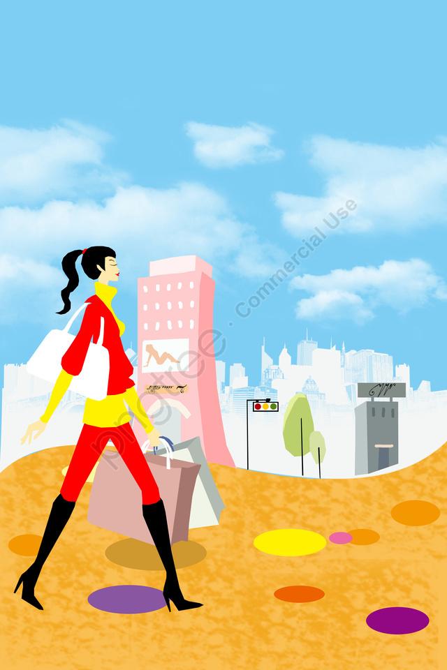 일러스트 레이션  쇼핑 , 핸드백, 아기, 푸른 하늘 llustration image