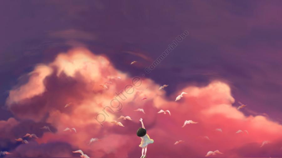 illustration sky sunset glow child, Pigeon, Fly, Free llustration image