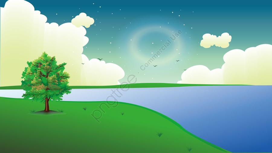 Illustration Spring Evening Landscape, Landscape Illustration, Cartoon Illustration, Spring Landscape llustration image