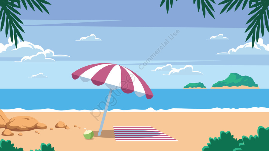 イラスト夏の海辺の休暇の風景, 夏, 景観, シーサイド llustration image