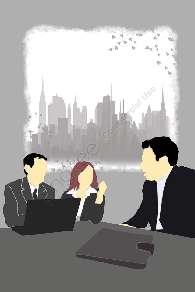 Equipe De Ilustração Discutir Simples, Flat, Colarinho Branco, Reunião llustration image