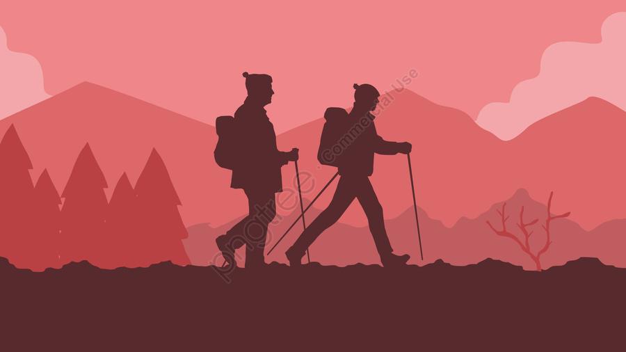 徒歩で旅行旅行徒歩で旅行旅行, 歩くキャラクター, 旅行キャラクター, 屋外のシーン llustration image