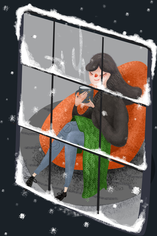 Illustration Winter Beginning Of Winter Light Snow, Girl, Warm, Sofa llustration image