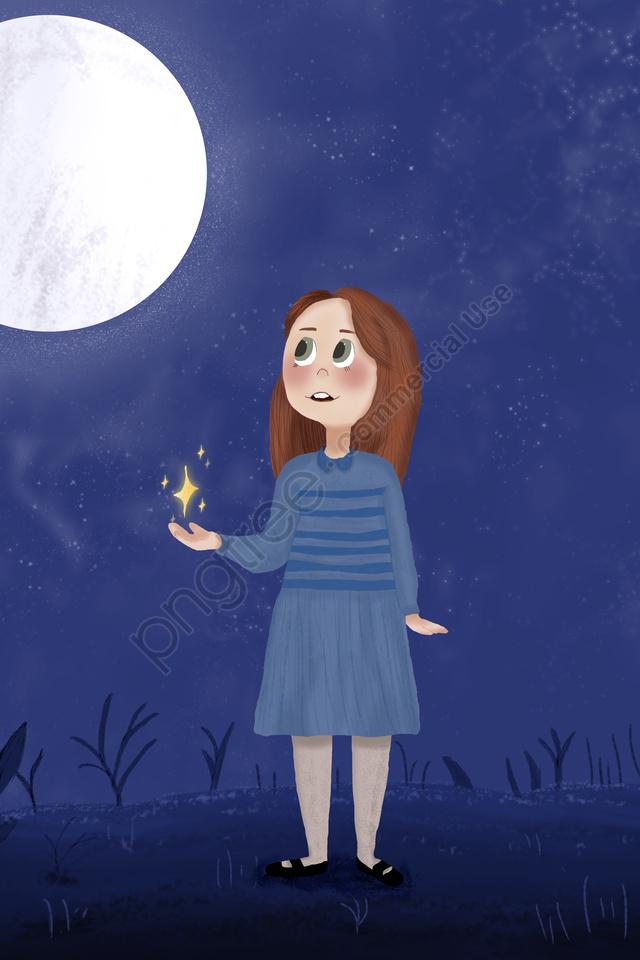 Illustrator Style Night Starry Sky Little Girl, Dress, Moon, Star llustration image