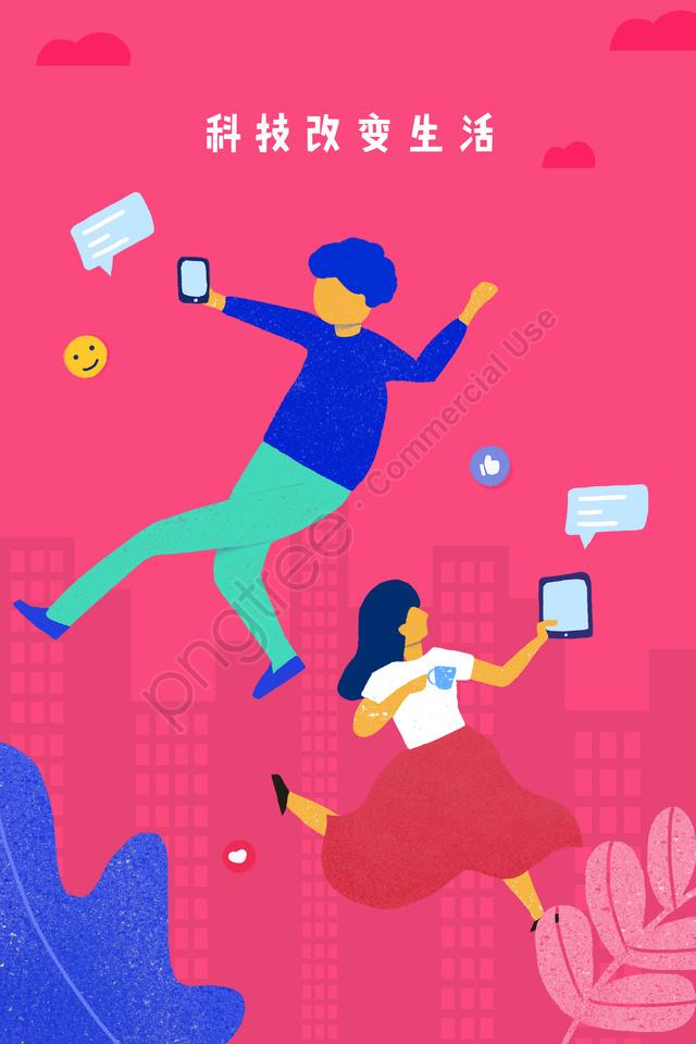 सूचना प्रौद्योगिकी डिजिटल बुद्धिमान, जीवन, सामाजिक, मीडिया llustration image