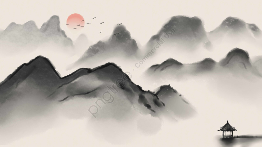 ink antiquity landscape traditional chinese painting, Artistic Conception, Retro, Ink Painting llustration image