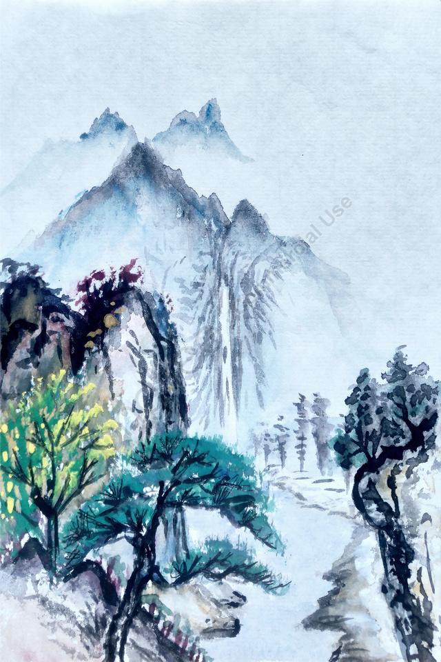 墨水藝術構思景觀背景藝術景觀墨水景觀墨跡景觀, 景觀, 中國式, 電視背景 llustration image