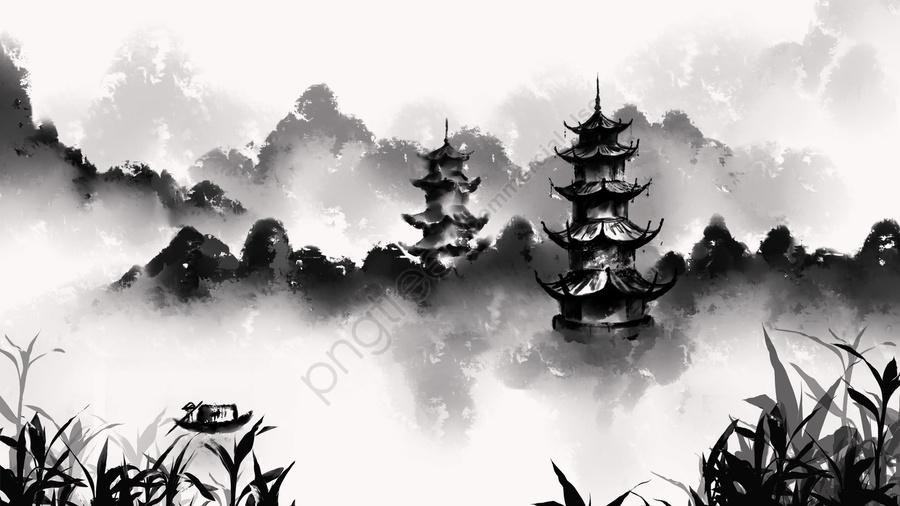 インク風インク絵画古代中国風, 芸術的概念, タワー, 太陽と月の塔 llustration image