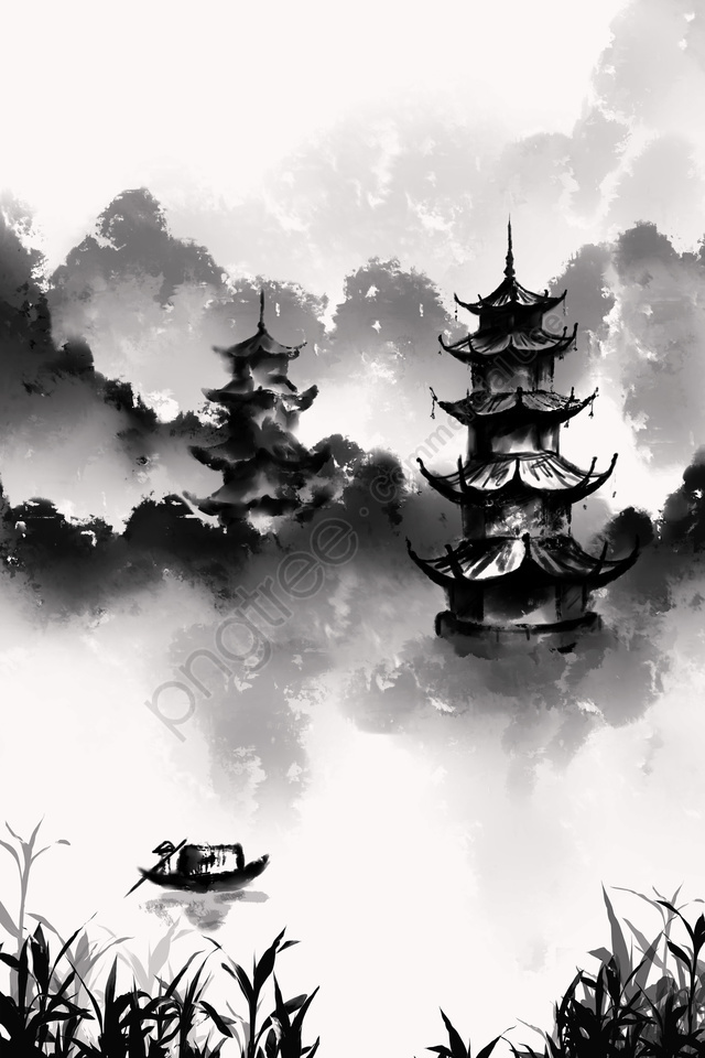 ink wind ink painting antiquity chinese style, Artistic Conception, Tower, Sun And Moon Tower llustration image