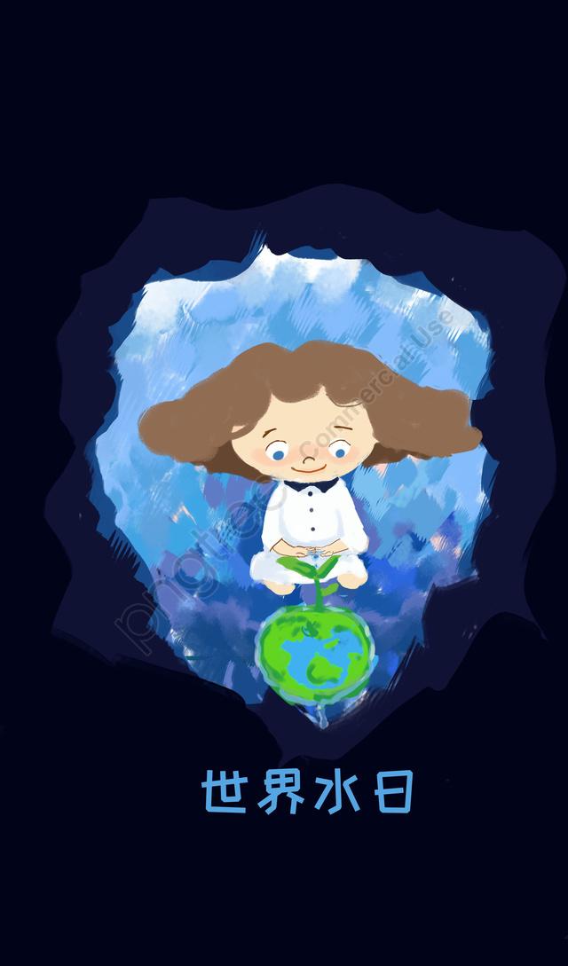 Cartel De Caridad Del Día Mundial Del Agua Pintado A Mano Con