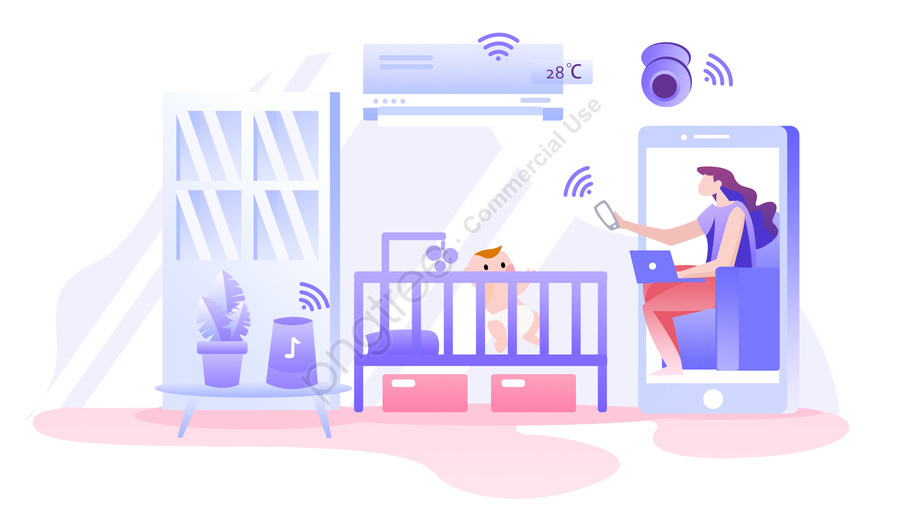 intelligent home appliance remotely illustration, Intelligent, Home Appliance, Remotely llustration image