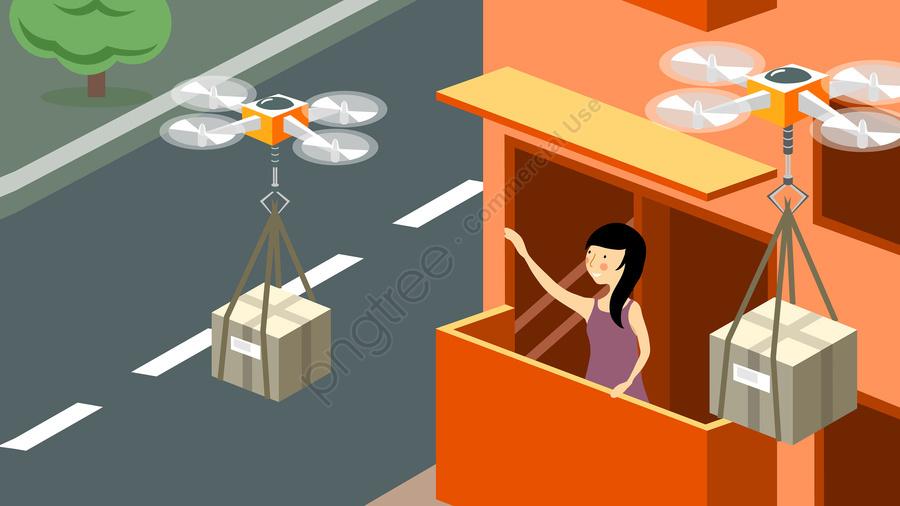 बुद्धिमान प्रौद्योगिकी ड्रोन एक्सप्रेस वितरण, लड़की, परिवार, समुदाय llustration image