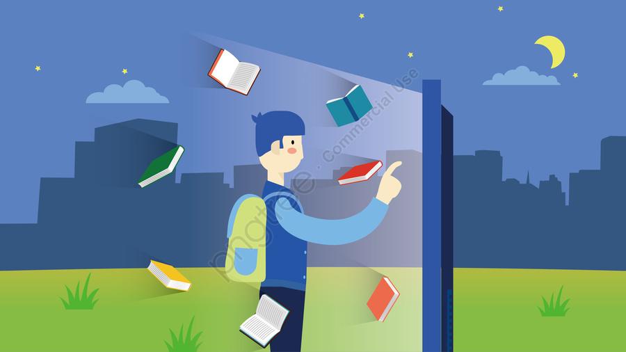 बुद्धिमान प्रौद्योगिकी पुस्तकालय स्कूल, परिसर, चरागाह, उधार की किताबें llustration image