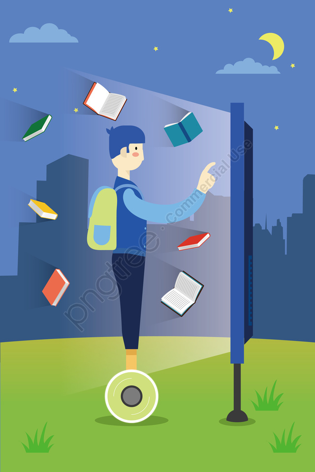 Intelligent Technology Library School, Campus, Grassland, Borrowing Books llustration image