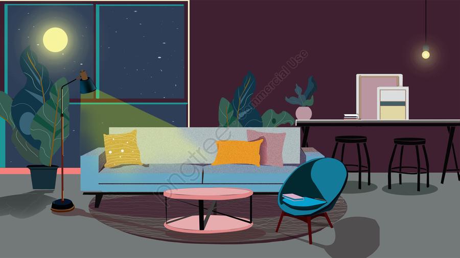 インテリア建築ホームインテリア建築インテリア改修, インテリアレイアウト, 屋内シーンのパフォーマンス, 室内の夜 llustration image