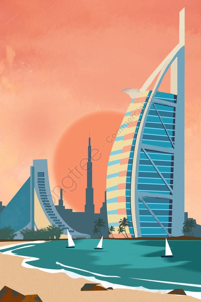 国際都市ドバイの建築風景, 国際都市, ドバイ, 建築風景 llustration image