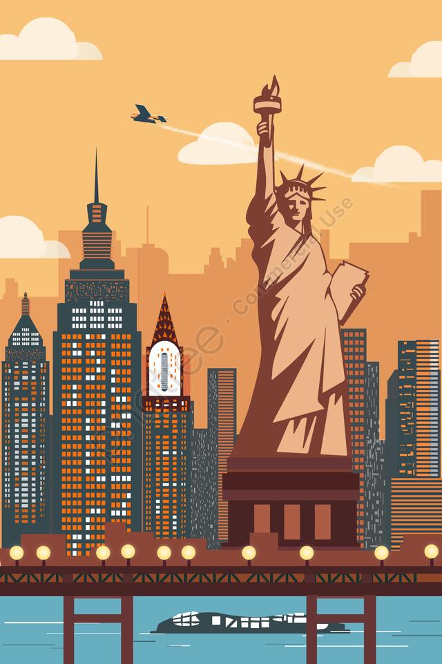 international city new york statue of liberty architectural scenery, International City, New York, Statue Of Liberty llustration image