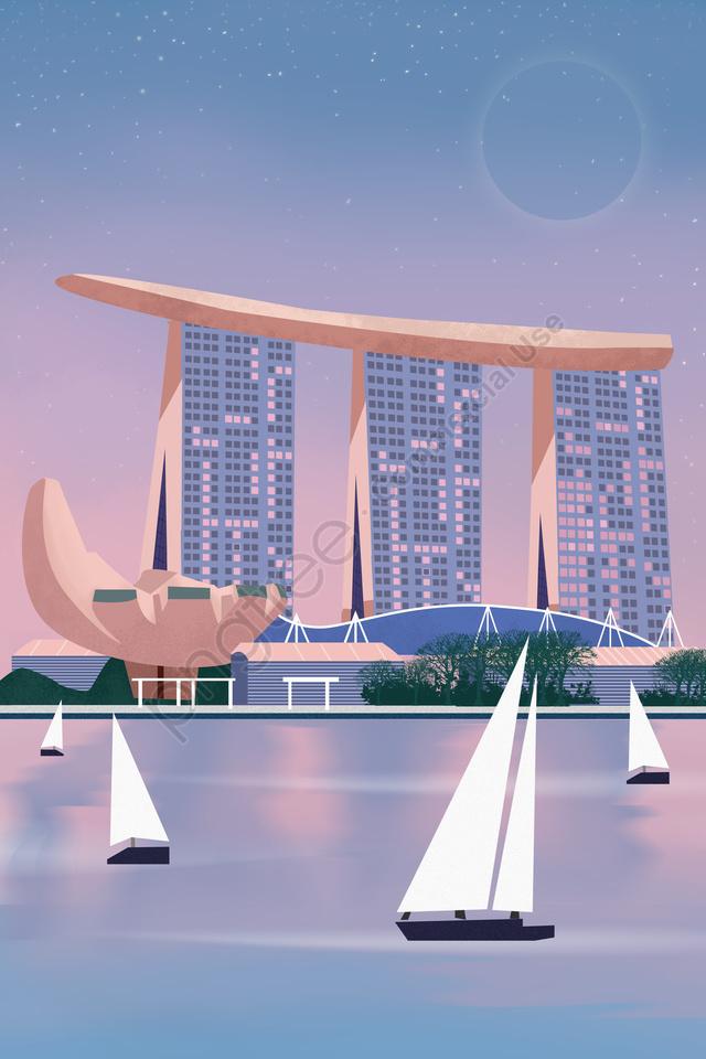international city singapore scenery architecture, International City, Singapore, Scenery Architecture llustration image
