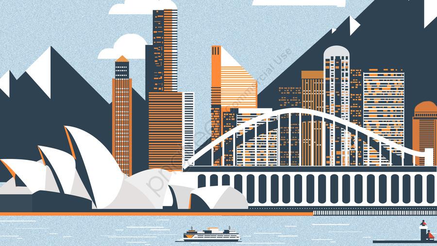 international city sydney opera scenery architecture, Architecture, Illustration, International City llustration image