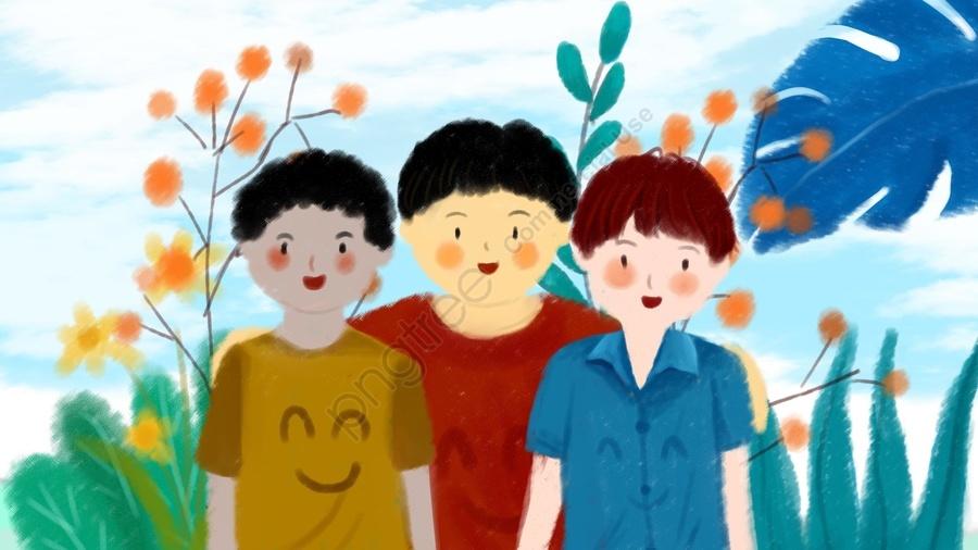 International Friendship Day Dark Skin Tone Yellow Skin Tone White Skin Tone, Lovely, Hand Painted, Flower llustration image