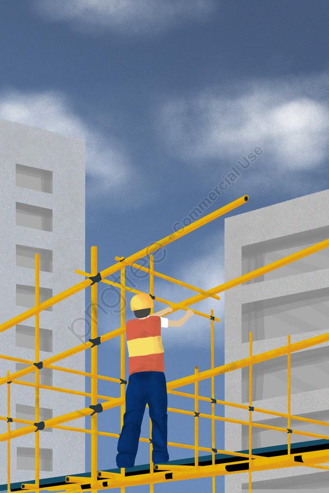 Buruh Antarabangsa Buruh Pekerja Binaan Langit Biru, Rak Kuning, Awan Putih, Tekstur llustration image