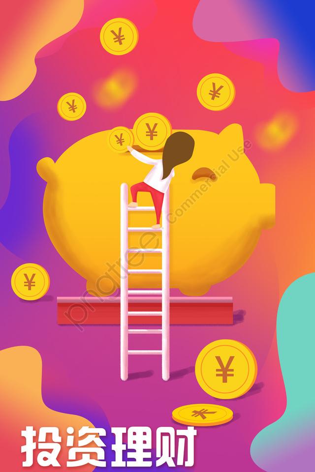 инвестиционный финансовый менеджмент финансового характера, золото, золотая свинья, по лестнице llustration image
