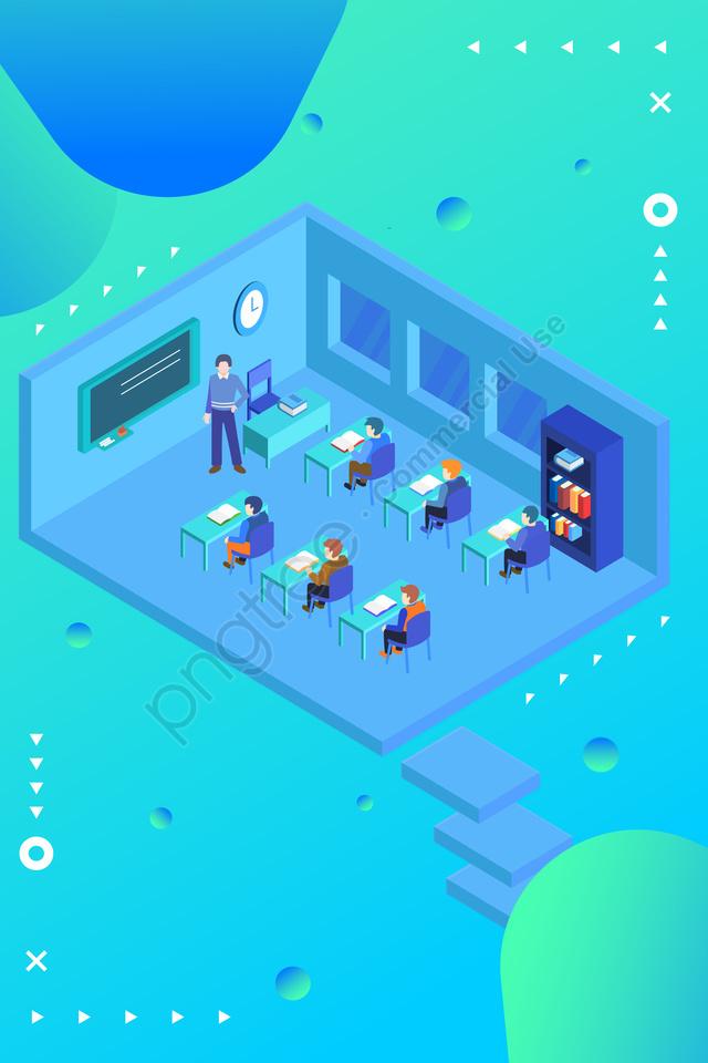 आइसोमेट्रिक 2 5 डी स्कूल सीज़न परिसर, दृश्य, छात्र, शिक्षा llustration image