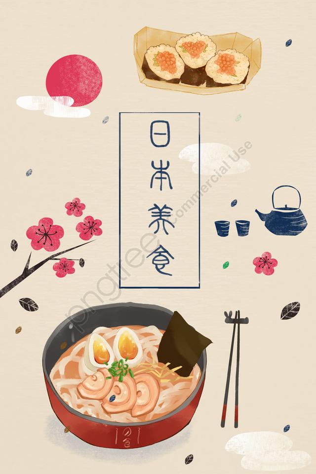 Ngày Sushi Thực Phẩm Nhật Bản, Ramen Nhật Bản, Bộ đồ Trà, Hoa Anh đào llustration image