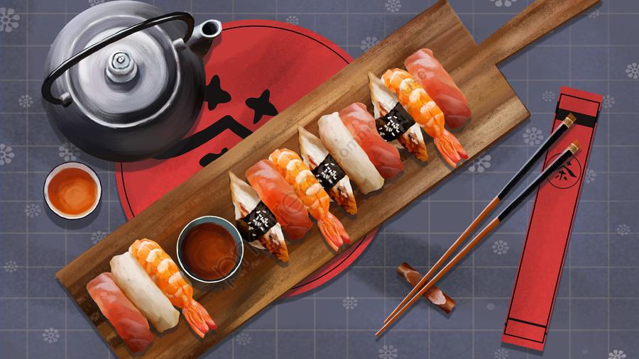 日本食寿司茶, 食器類, ゼファー, グレイ llustration image