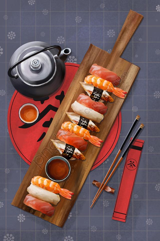 Trà Sushi Thực Phẩm Nhật Bản, Bộ đồ ăn, Gió Tây, Màu Xám. llustration image