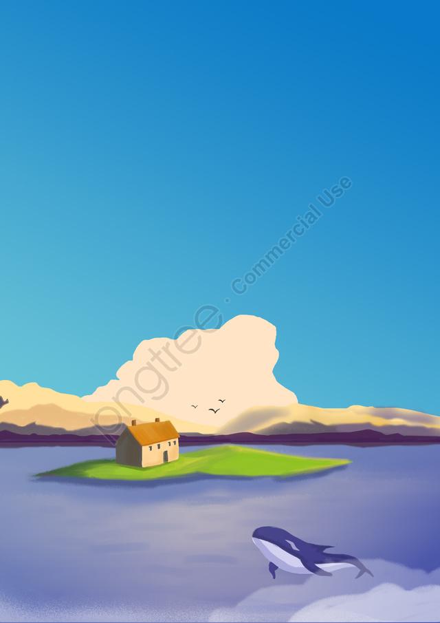 日本の新鮮な美しい風景, ビュー, 鯨, 夢 llustration image