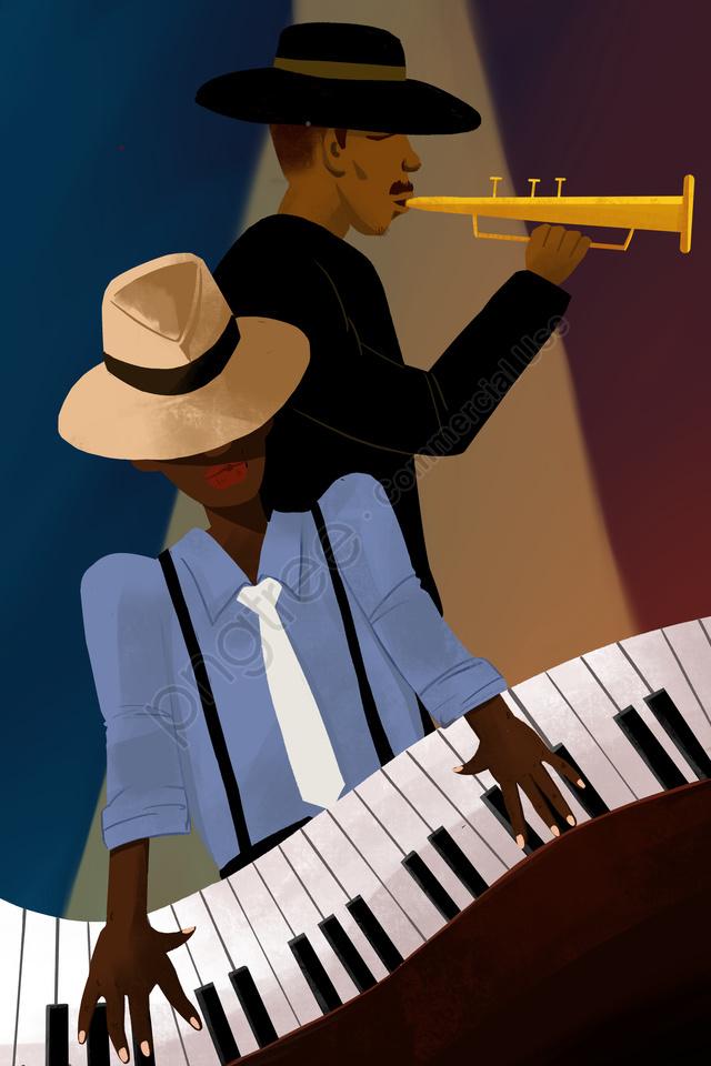 ジャズ音楽演奏イラスト ジャズ 音楽 プレイヤー 楽器 黒人男性 ブルース