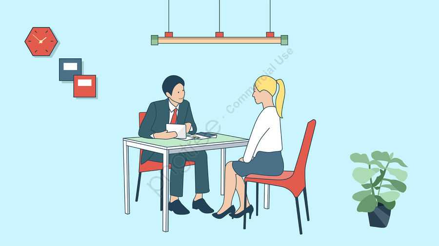 job hunting interview business man business office, Professionals, Recruitment, Simple llustration image