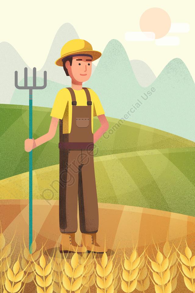 मजदूर दिवस किसान कड़ी मेहनत से खेती करें, फसल के मौसम, चित्रण, सुंदर llustration image