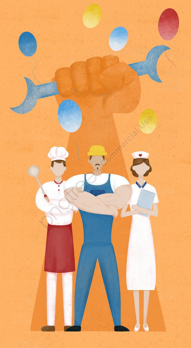 श्रमिक दिवस मजदूर चित्रण नारंगी, कार्यकर्ता, नर्स, महाराज llustration image