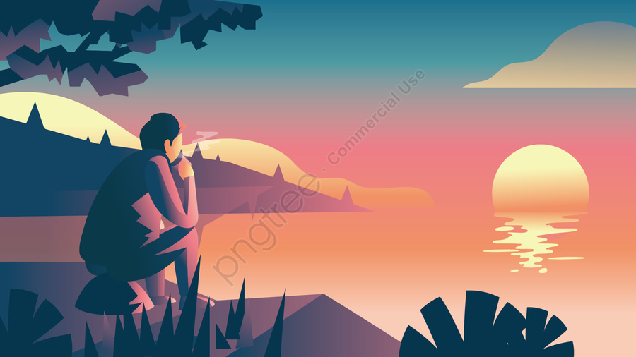 lakeside drinking tea sunset landscape, Lake, Watch, Sunset llustration image