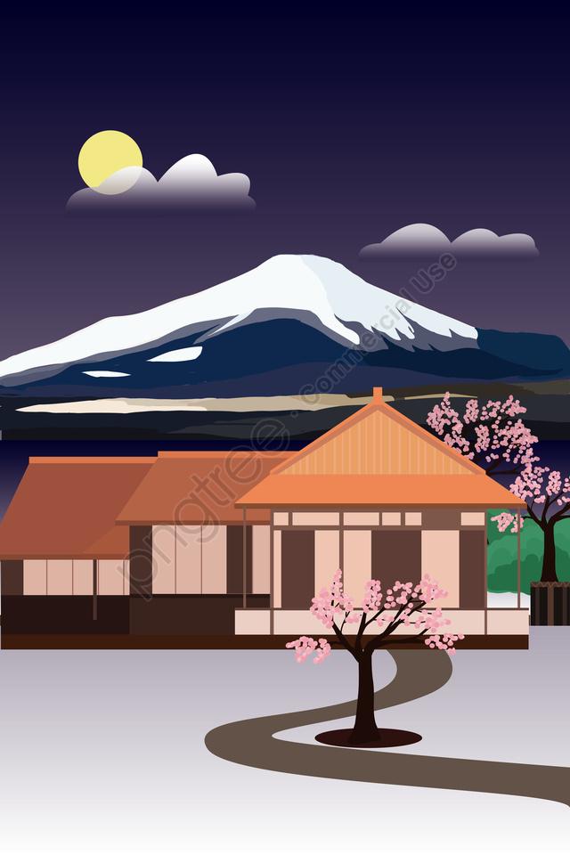 랜드 마크 건물 경관 일본, 구이 궁전, 후지산은, 벚꽃 llustration image