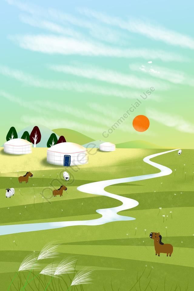 랜드 마크 그림 Hulunbeier 대초원, 텐트, 일몰, 초원 풍경 llustration image