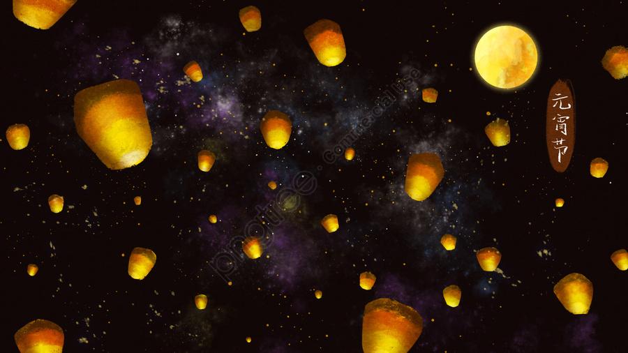 Perayaan Tanglung Kongming Tanglung Berdoa Langit Berbintang, Berkat, Festival, Hitam llustration image